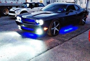 Dodge Challenger with Blue LED kit Vossen wheels Eibach lowering springs